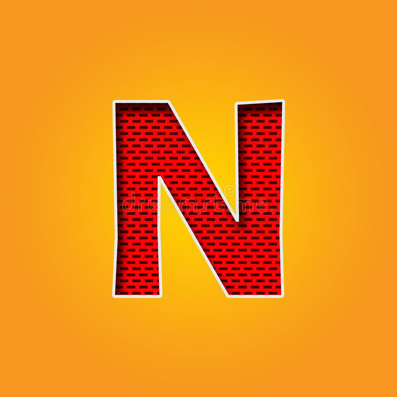 Single Character N Font In Orange And Yellow Color Alphabet Stock ...