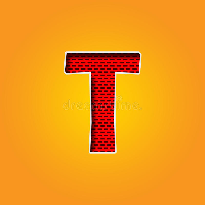 Single Character T Font In Orange And Yellow Color Alphabet Stock ...