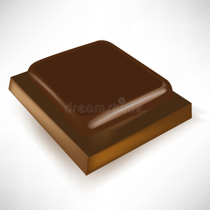 Single chocolate piece in perspective. View vector illustration