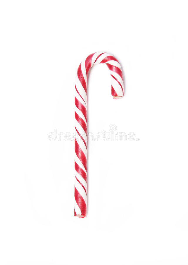 Single Christmas candy can on white background. One red Christmas candy can isolated on white background stock photography