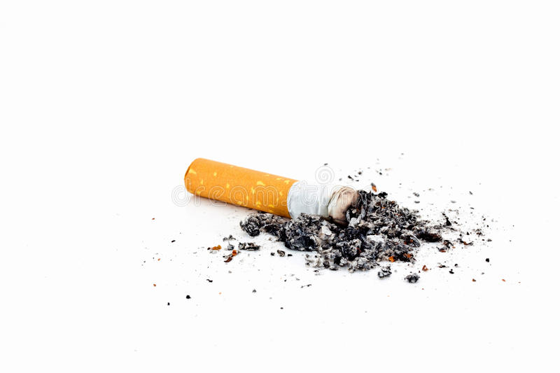 Download Single cigarette with ash stock photo. Image of substance - 24426924