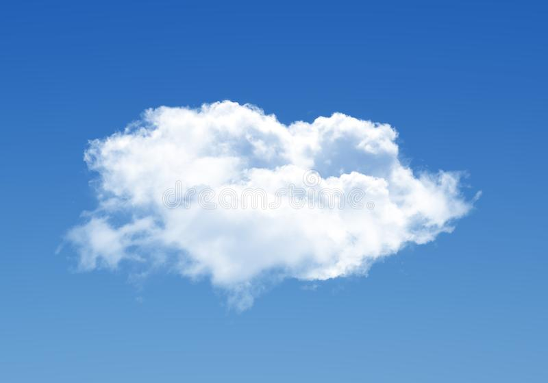 Single cloud illustration isolated over blue background stock images