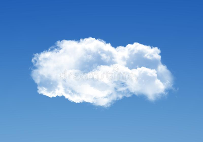 Single cloud illustration isolated over blue background royalty free stock photography