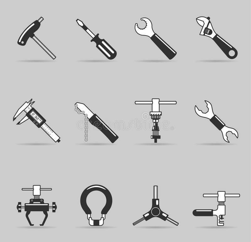 Single Color Icons - Bicycle Tools vector illustration