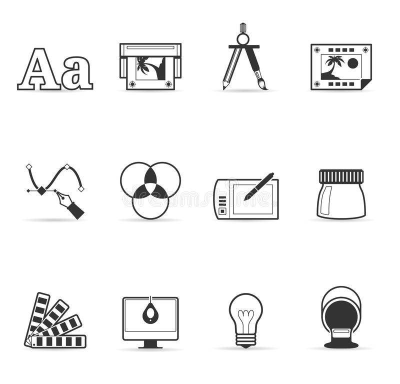 Single Color Icons - Printing & Graphic Design vector illustration