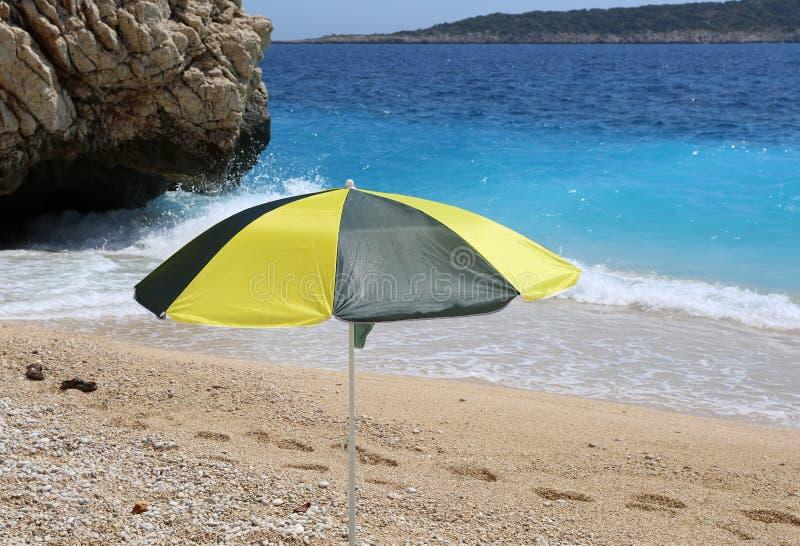 Single Colorful Umbrella at Kaputas Beach royalty free stock photos