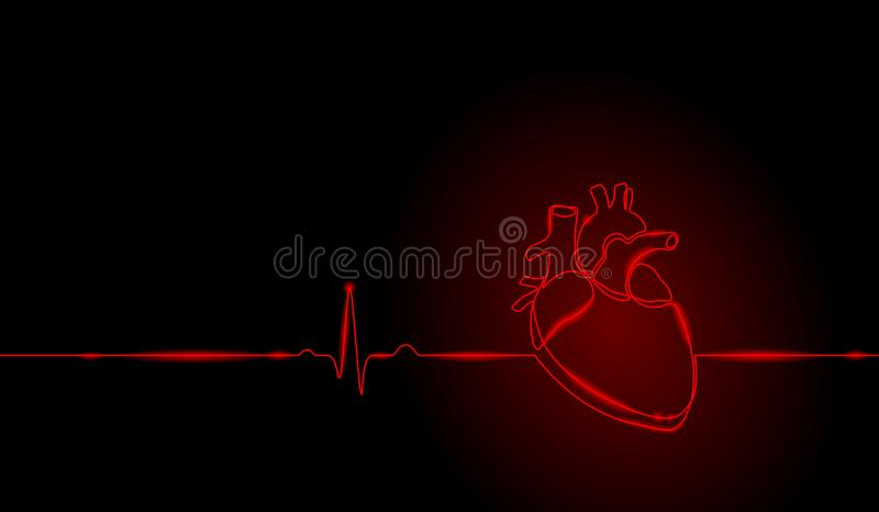 Single continuous line art anatomical human heart silhouette. Healthy medicine concept design neon glow red one sketch. Single continuous line art anatomical stock illustration