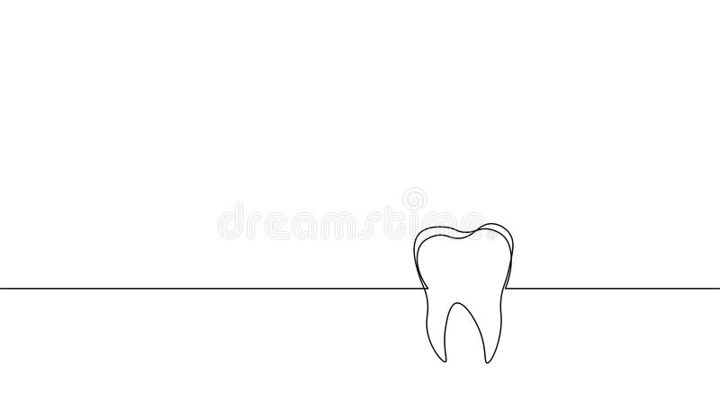 Single continuous line art anatomical human tooth silhouette. Healthy medicine against molar enamel root cavity concept vector illustration
