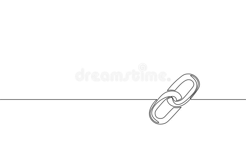 Single continuous line art blockchain link silhouette. Hyperlink sigh modern international communication security stock illustration