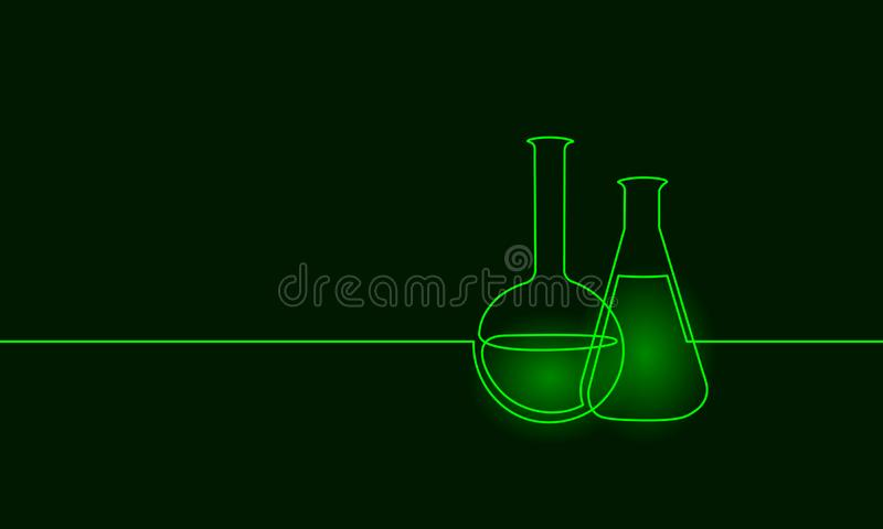 Single continuous line art chemical science flask. Scientific technology research medicine glass equipment design one stock illustration