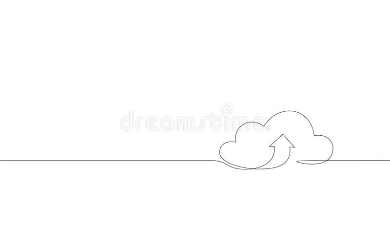 Single continuous line art cloud storage silhouette.Cloud computing global big data information web exchenge concept. Design one sketch doodle outline drawing vector illustration