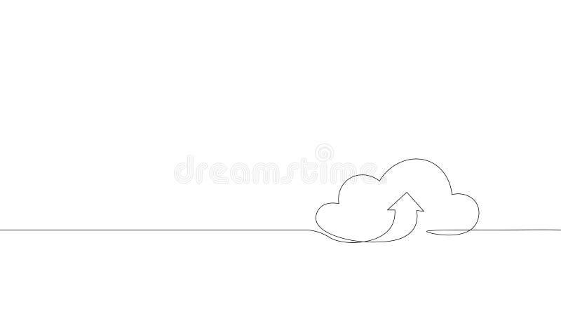 Single continuous line art cloud storage silhouette.Cloud computing global big data information web exchenge concept vector illustration