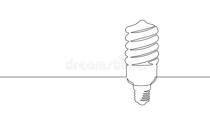 Single continuous line art economy light bulb. Compact fluorescent lamp energy saving light one sketch outline drawing royalty free illustration