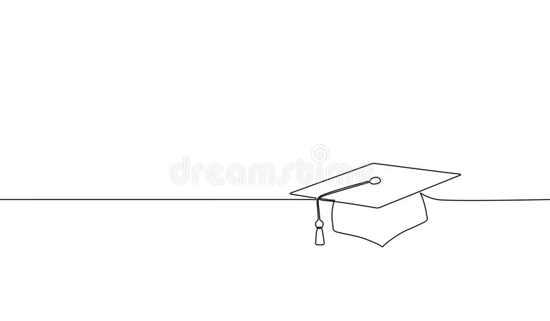Single continuous line art graduation cap. Celebration ceremony master degree academy graduate design one sketch outline. Drawing vector illustration art royalty free illustration