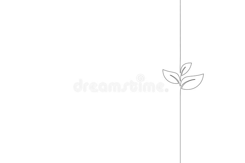 Single continuous line art growing sprout. Plant leaves seed grow soil seedling eco natural farm concept design one royalty free illustration