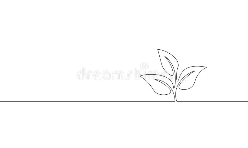 Single continuous line art growing sprout. Plant leaves seed grow soil seedling eco natural farm concept design one. Sketch outline drawing vector illustration vector illustration