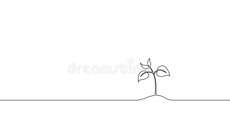 Single continuous line art growing sprout. Plant leaves seed grow soil seedling eco natural farm concept design one stock illustration