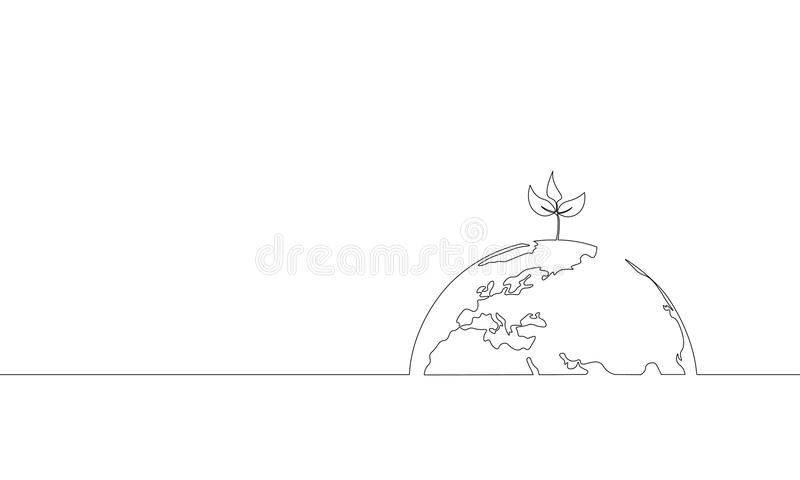 Single continuous line art growing sprout. Plant leaves seed grow soil seedling eco natural farm concept design one. Sketch outline drawing vector illustration royalty free illustration