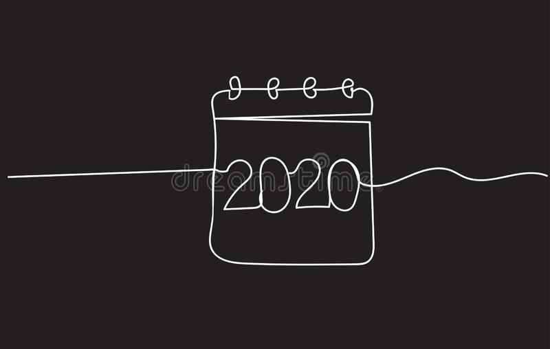 2020 single continuous line art royalty free stock photography