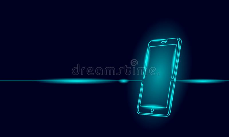 Single continuous line art smartphone. Mobile phone touch screen gadget modern technology neon blue glow design one vector illustration