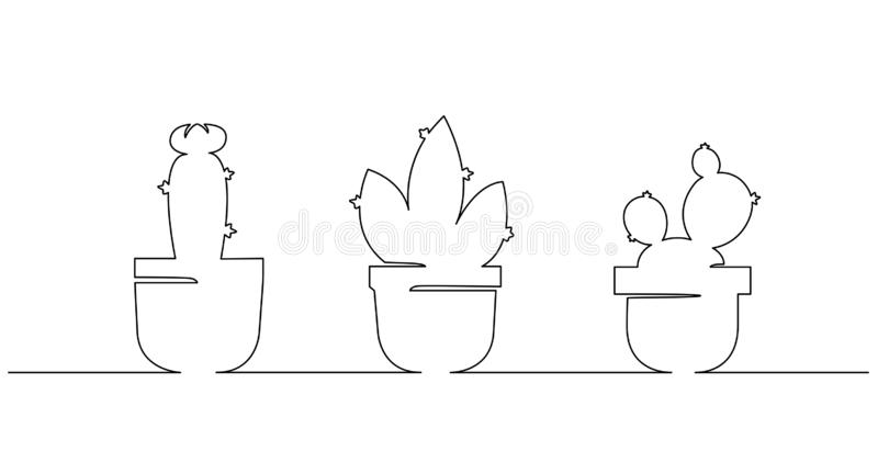 Single continuous line drawing of cactus plant. Modern one line draw design vector illustration stock illustration