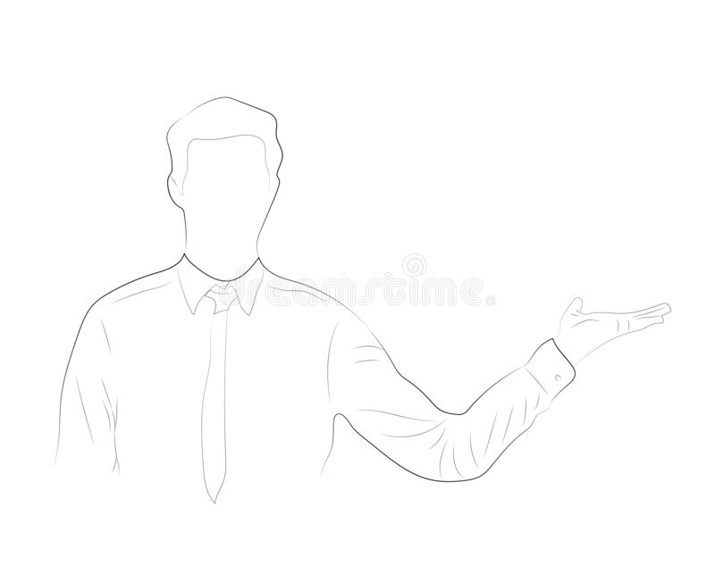 Single continuous single line drawing of   Happy Young Business Man  open hand Isolated On White Background royalty free illustration