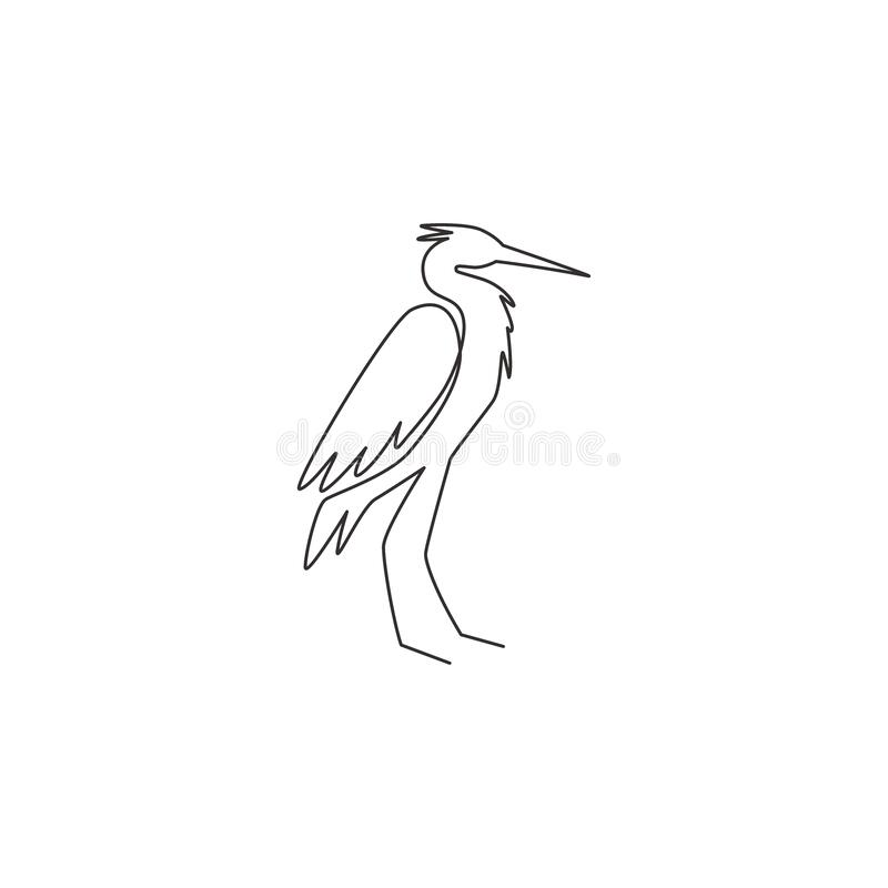 Free Single Continuous Line Drawing Of Adorable Standing Heron For Company Logo Identity. Long Beak Bird Mascot Concept For National Stock Image - 195355551