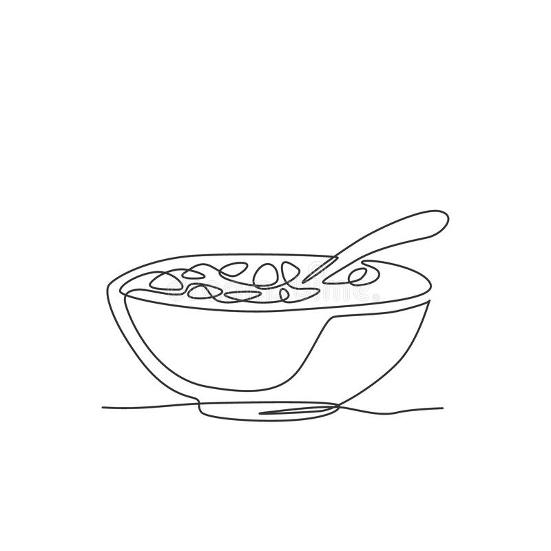Free Single Continuous Line Drawing Of Stylized Bowl Of Cereal Breakfast With Fresh Milk. Healthy Whole Wheat Food Concept. Modern One Stock Photos - 201085503