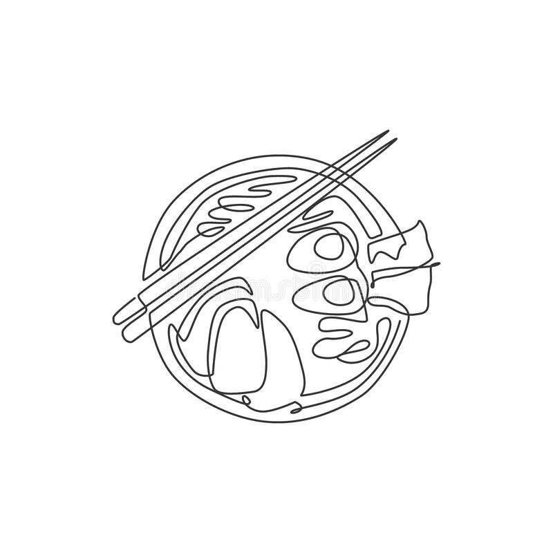 Single Continuous Line Drawing Of Stylized Japanese Ramen Logo Label Top View Fast Food Noodle Restaurant Concept Modern One Stock Illustration Illustration Of Isolated Lines 201091336
