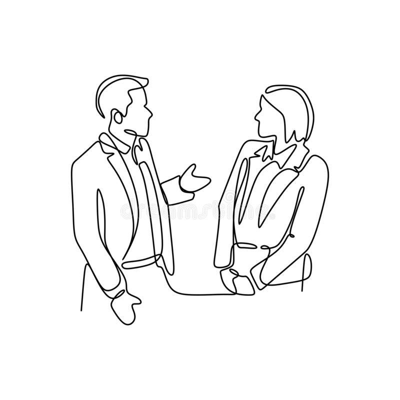 Single continuous line drawing of two young male and female startup founders have a business talk over soft drink. Business chat royalty free illustration