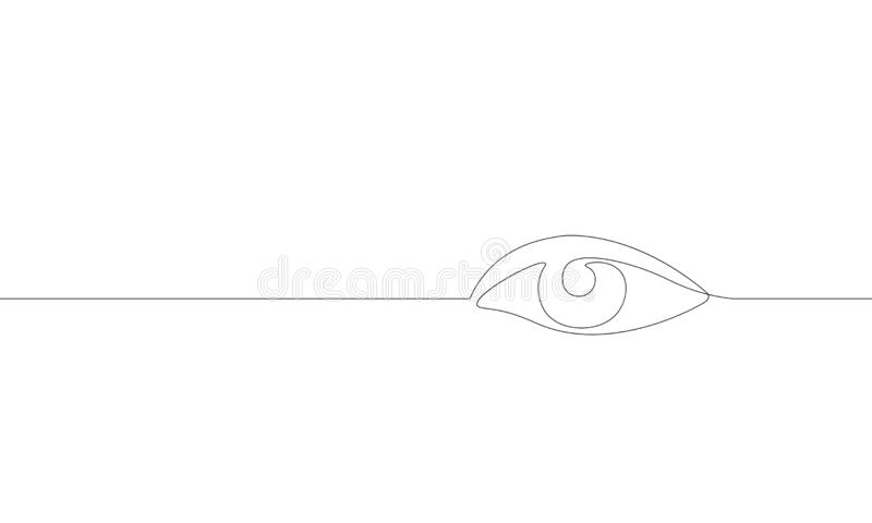 Single continuous one line art female watch eye. Beauty salon woman girl sight concept design sketch outline drawing stock illustration