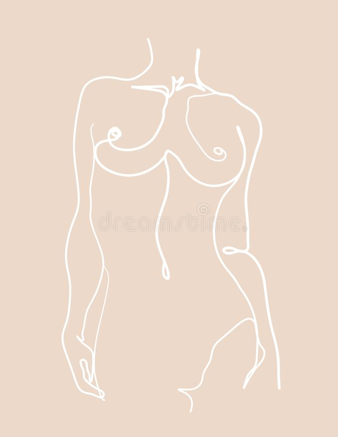Free Single Continuous One Line Art. Modern Continuous Line Art Woman Body, Minimalist Contour. Royalty Free Stock Photography - 168567697