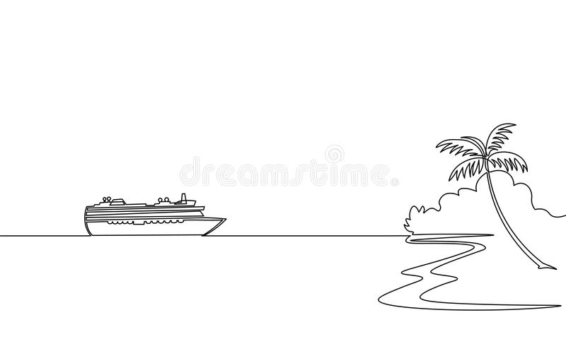 Single continuous one line art ocean travel vacation. Sea voyage holiday tropical island ship liner cruise journey. Concept design sketch outline drawing vector royalty free illustration