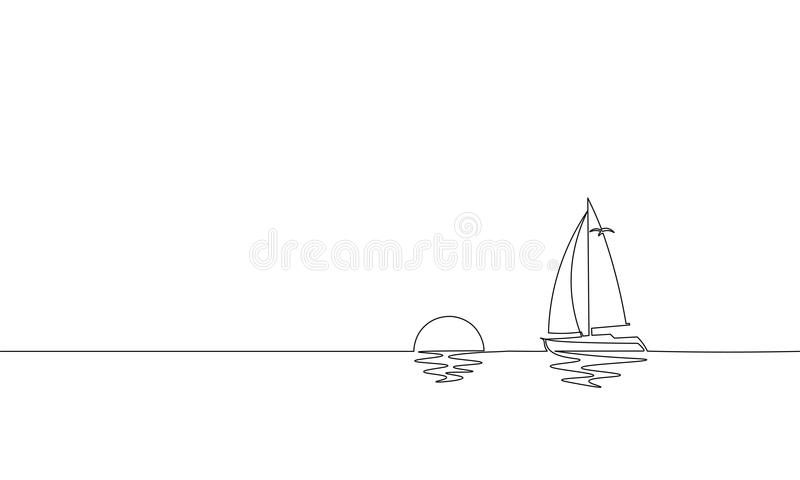 Single continuous one line art sunny ocean travel vacation. Sea voyage sunrise holiday tropical island ship yacht luxury. Journey sunset concept design sketch vector illustration