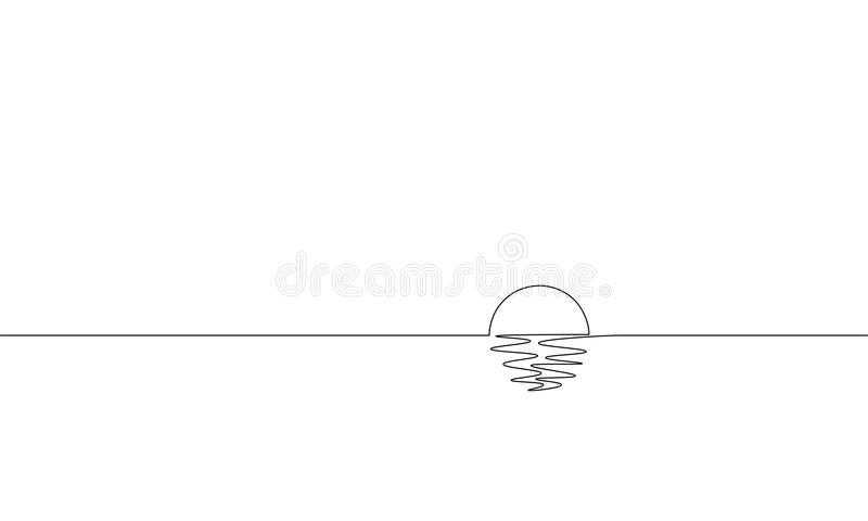 Single continuous one line art sunny ocean view. Sea voyage sunrise holiday tropical luxury journey sunset concept stock illustration