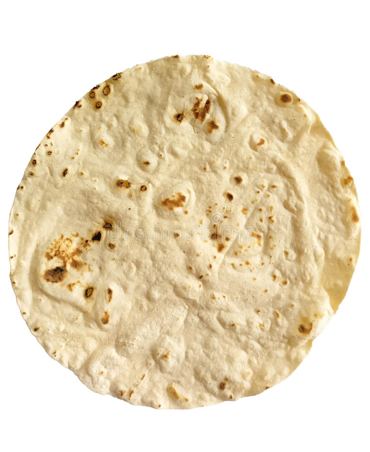 Single corn tortilla. A single corn tortilla on white background stock images