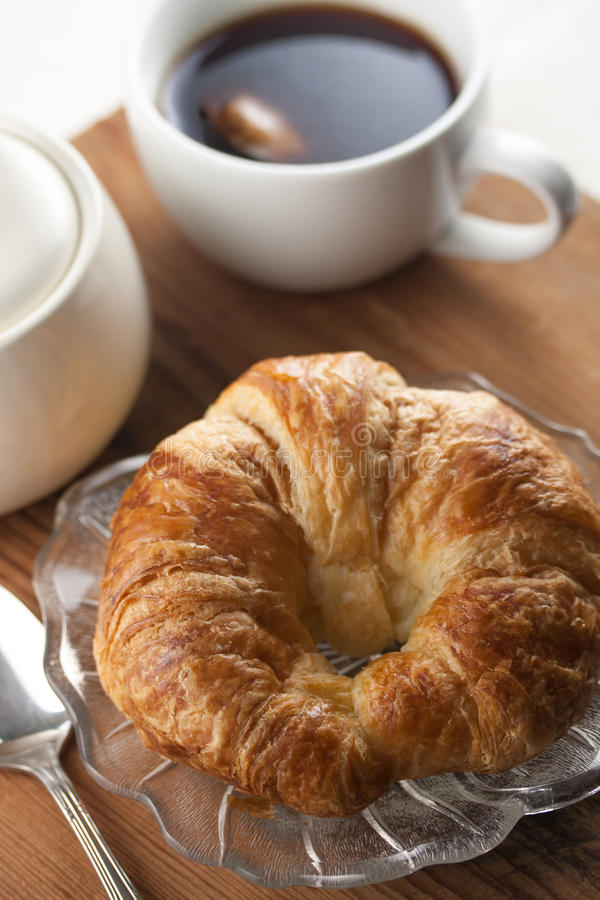 Download Single Croissant with Tea stock photo. Image of wood - 25294262