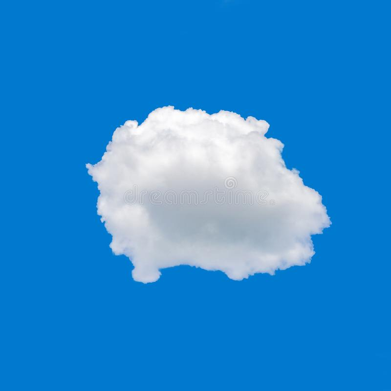 Single cloud on sky background. Single cumulus cloud on blue sky background with clipping path royalty free stock photo