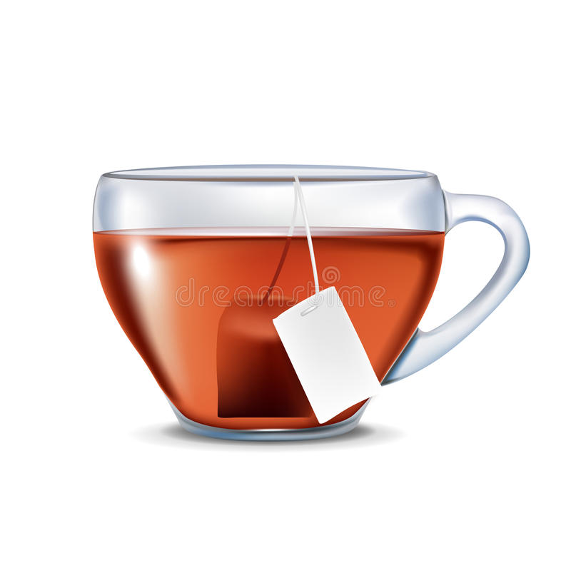 Single cup of tea with tea bag isolated royalty free illustration