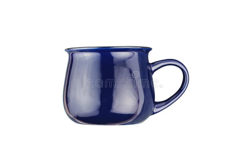 Single dark blue ceramic cup for drinks or other liquid products isolated on white. Background stock image
