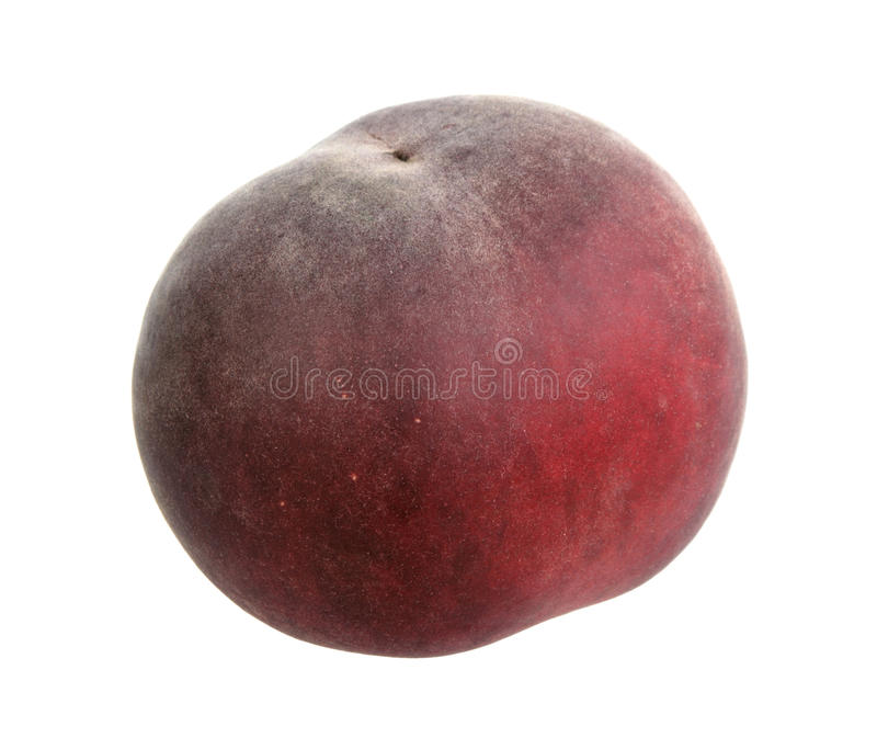 Single dark-red peach. Close-up. Isolated on white background royalty free stock image
