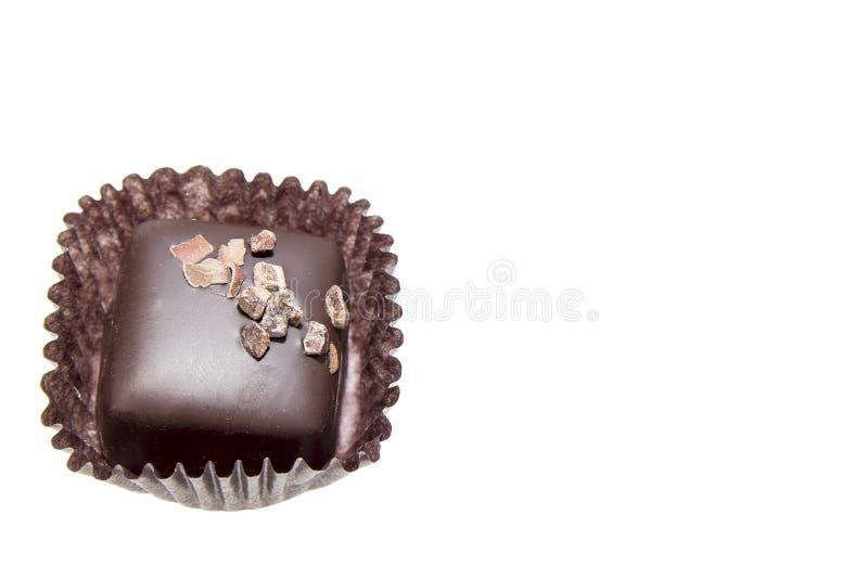 Single Dark Square Chocolate Truffles Stock Image