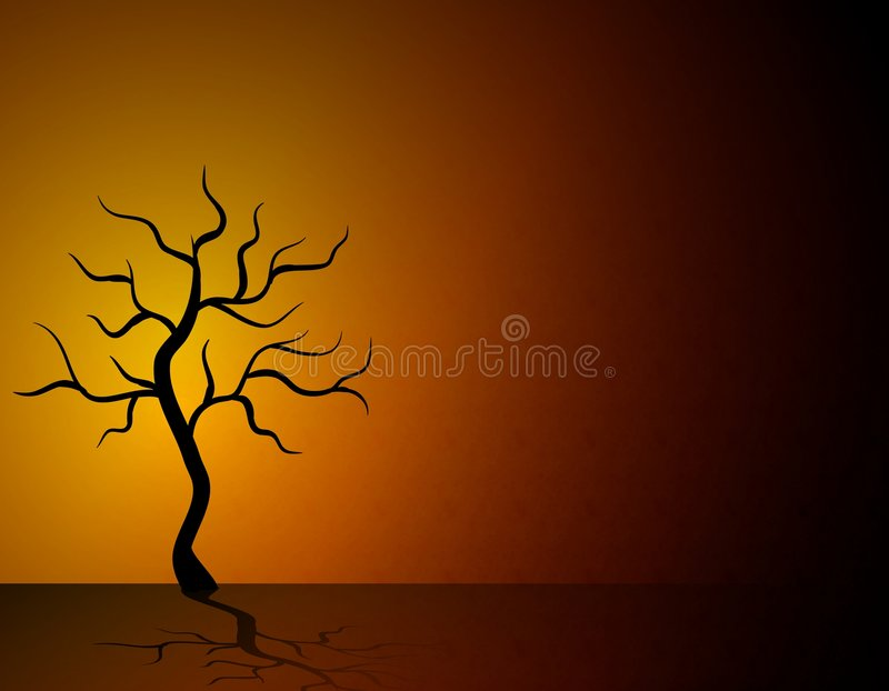 Single Dead Tree in Desert. An illustration featuring a single black dead tree in a desert-like scene with brown,red,and black colours royalty free illustration