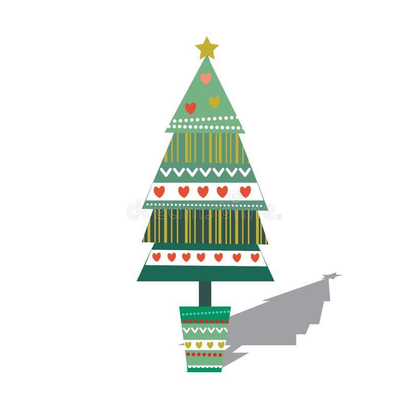 Single decoration Christmas tree. Vector illustration off Christmas tree stock illustration