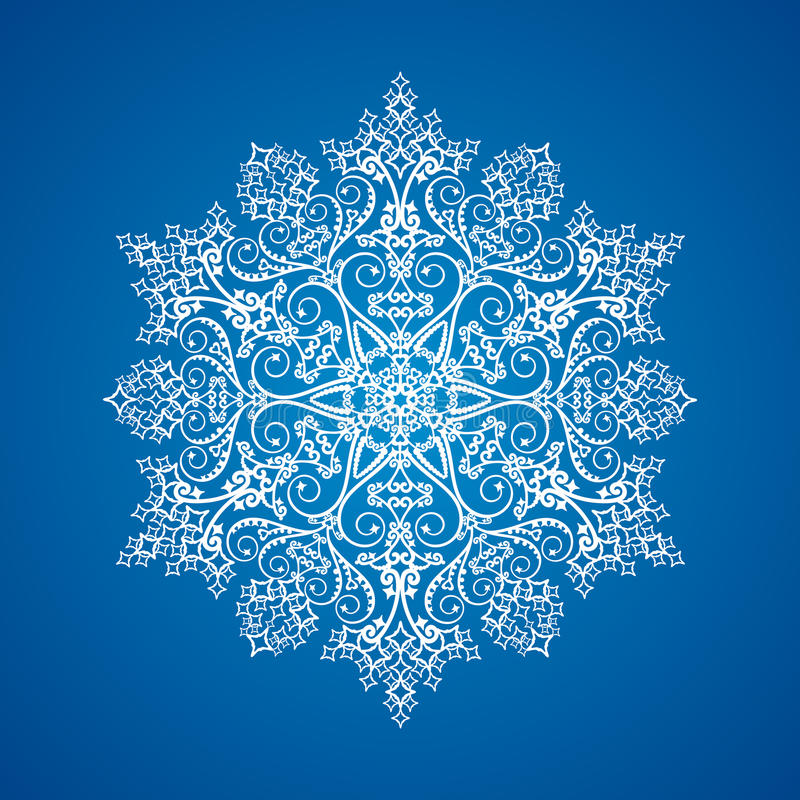 Single detailed snowflake ornament royalty free illustration