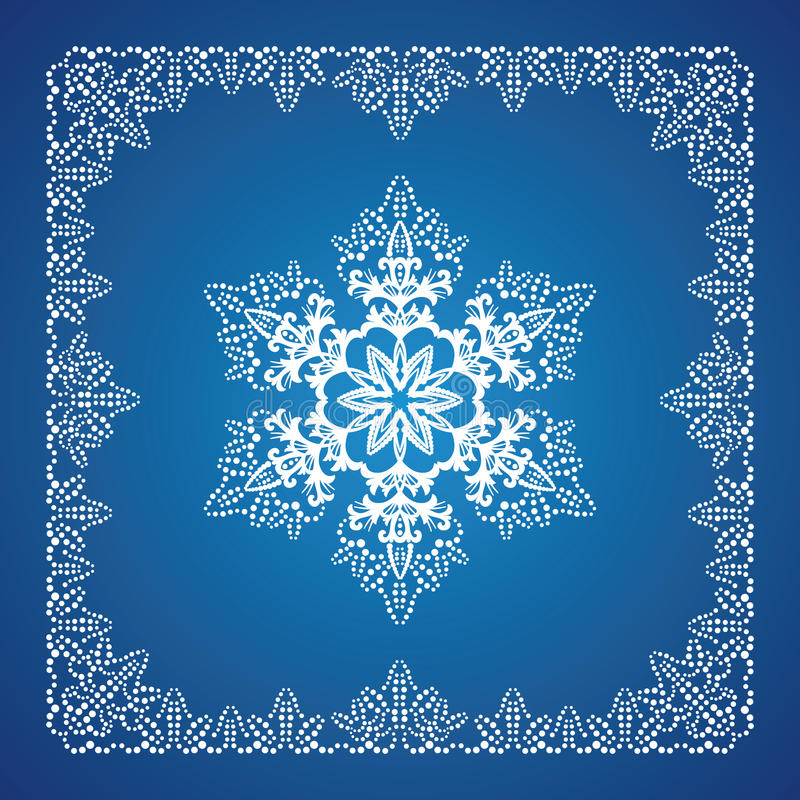 Single detailed snowflake with Christmas border stock illustration
