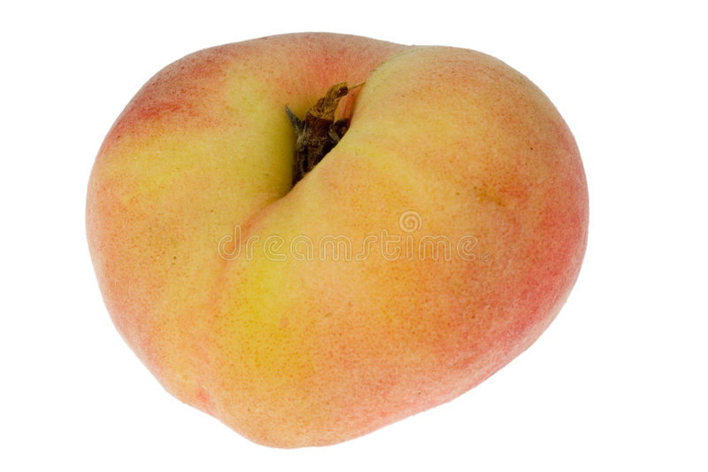 Single donut peach. Isolated on white background royalty free stock photography