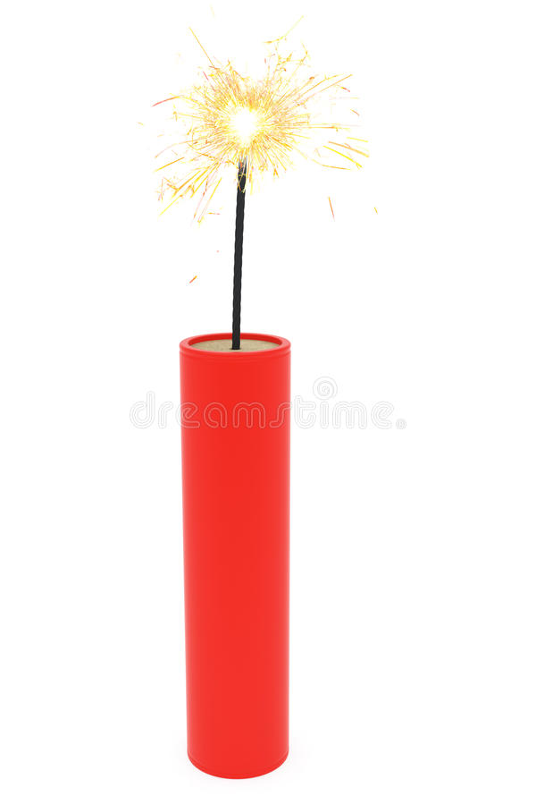 Single dynamite with burning wick on white royalty free stock image