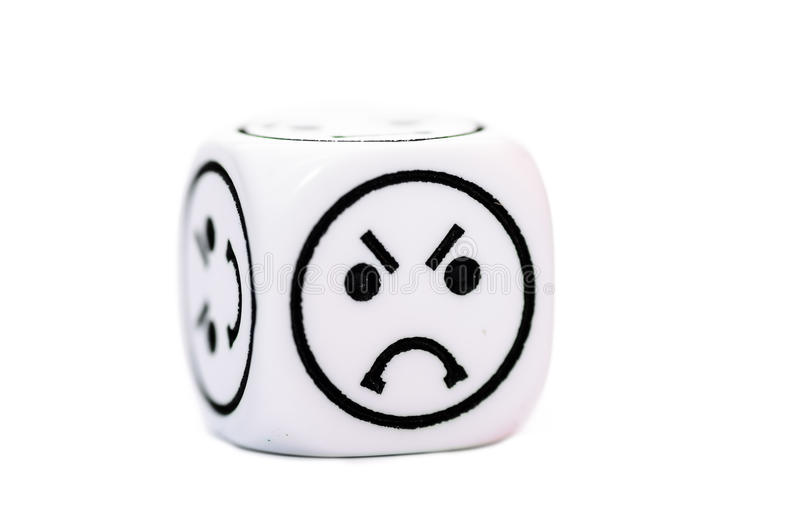 Single emoticon dice with angry expression sketch. Isolated on white background stock photo