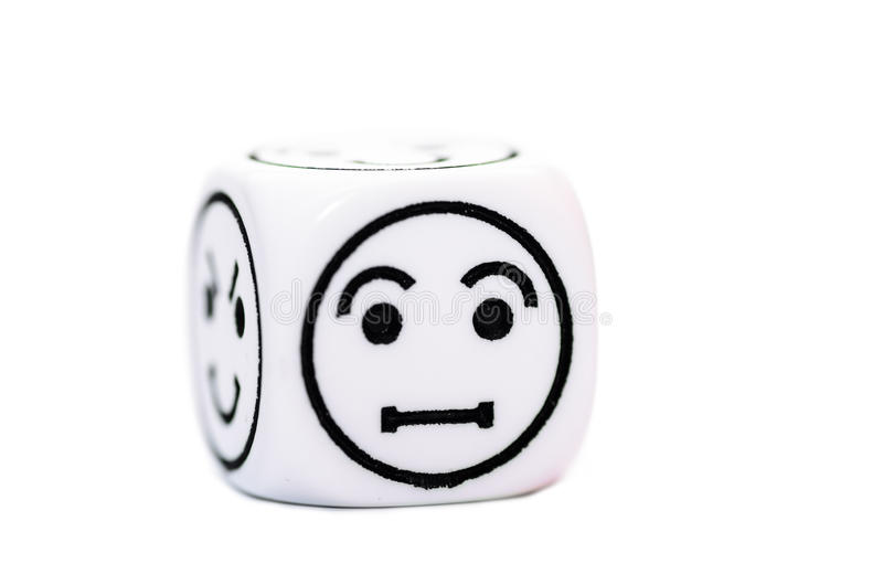 Single emoticon dice with confused expression sketch. Isolated on white background stock image